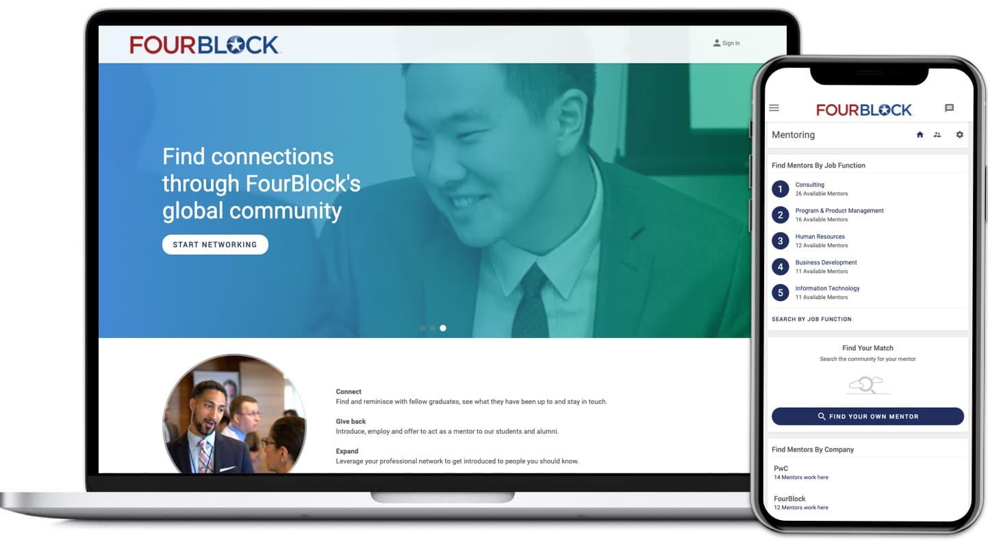 FourBlock Connect app on desktop and mobile phone